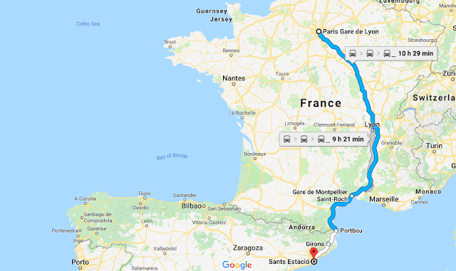 Mapa da viagem de trem de Paris a Barcelona