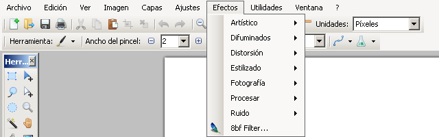 Usar filtros de Photoshop en Paint.NET