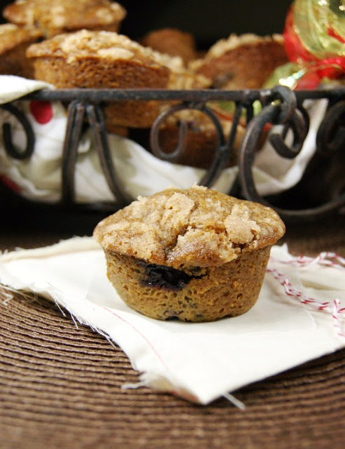 Blueberry Gingerbread Streusel Muffins