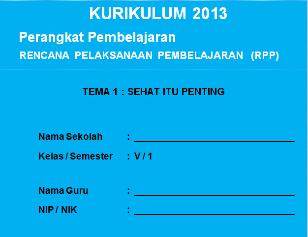 RPP Kurikulum 2013 SD KELAS 5 SEMESTER 1 - Sehat Itu Penting