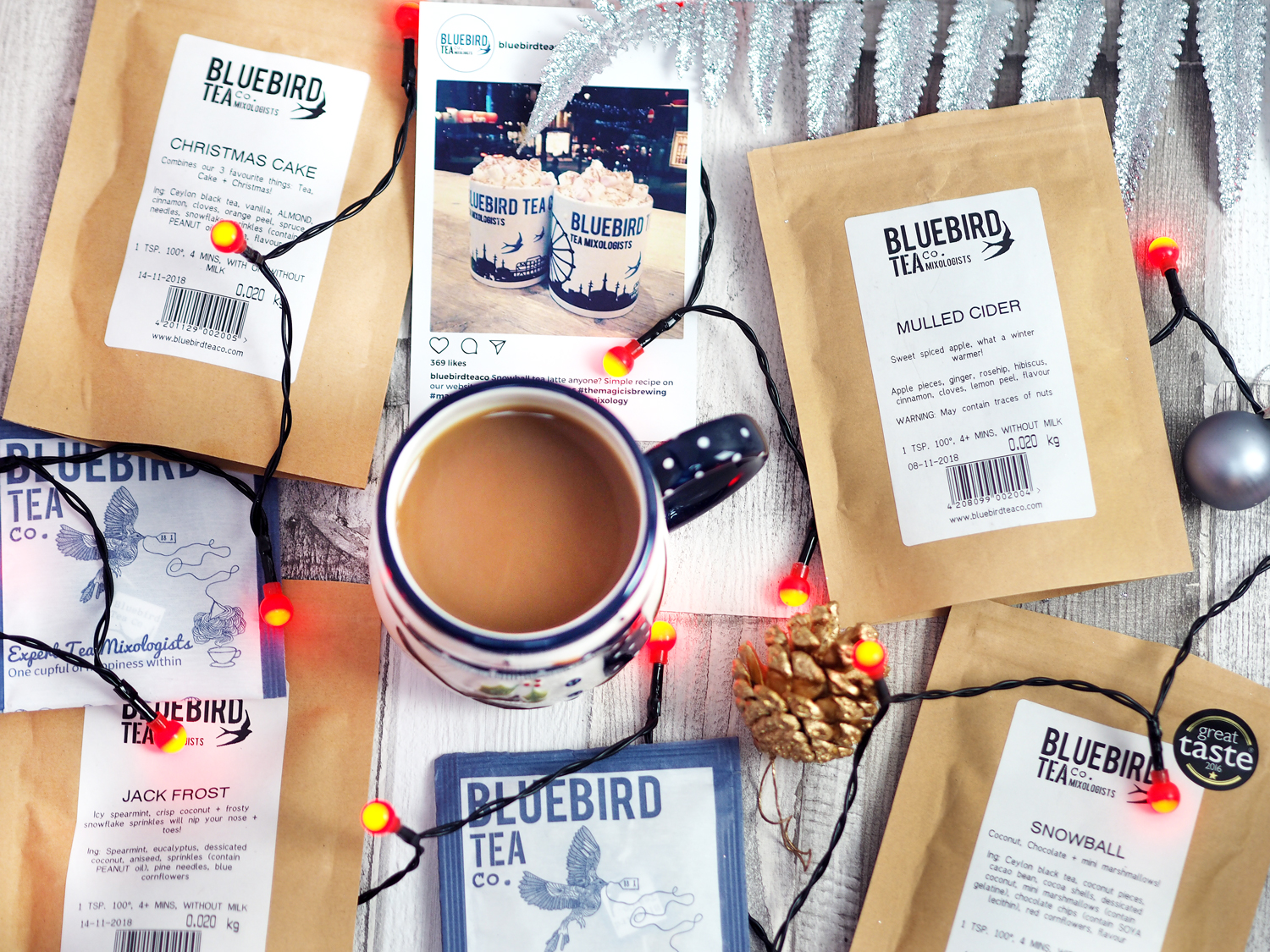 Bluebird Tea Co Christmas Blends Snowball Jack Frost Mulled Cider Earl Grey Creme Christmas Cake