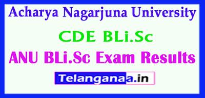 Acharya Nagarjuna University CDE BLi.Sc Exam Results