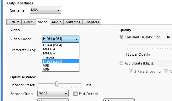 Opzioni formato contenitore e codec video HandBrake