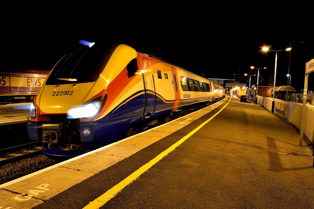 Night Photo of East Midlands Trains Class 222 002 DMU Pauses at Wellingborough railway station 2016