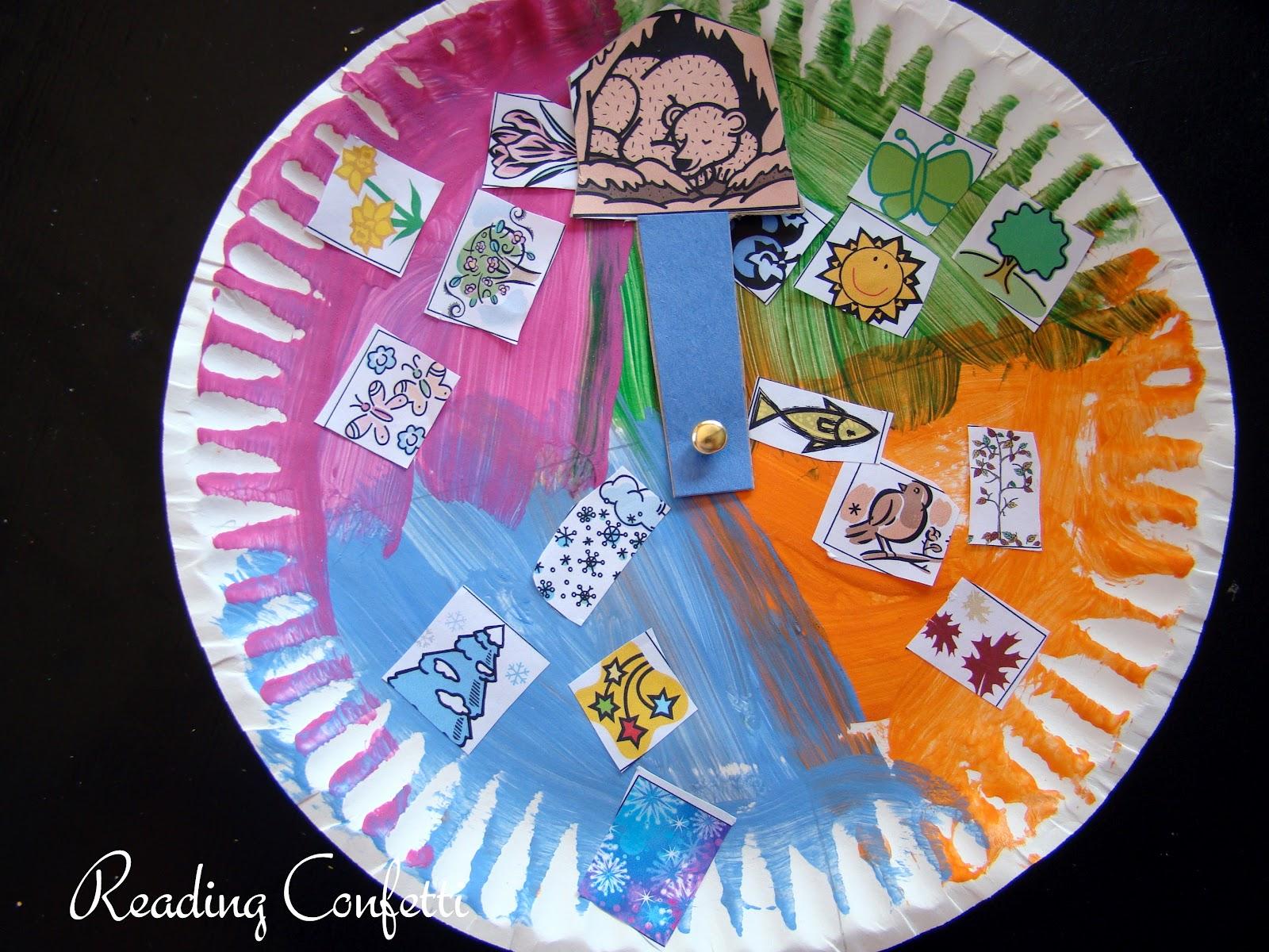 Old Bear 4 Seasons Craft August Virtual Book Club Reading Confetti