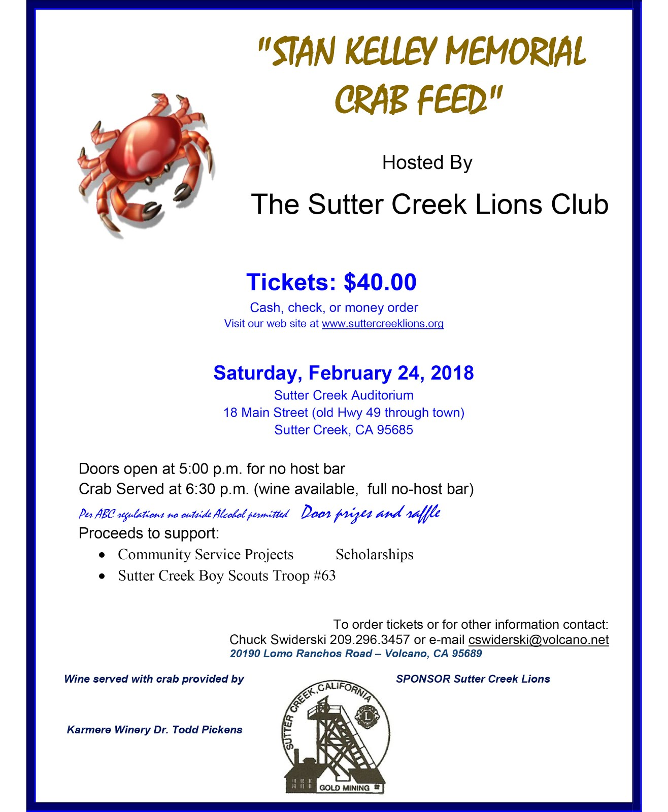 Stan Kelley Memorial Crab Feed - Sat Feb 24