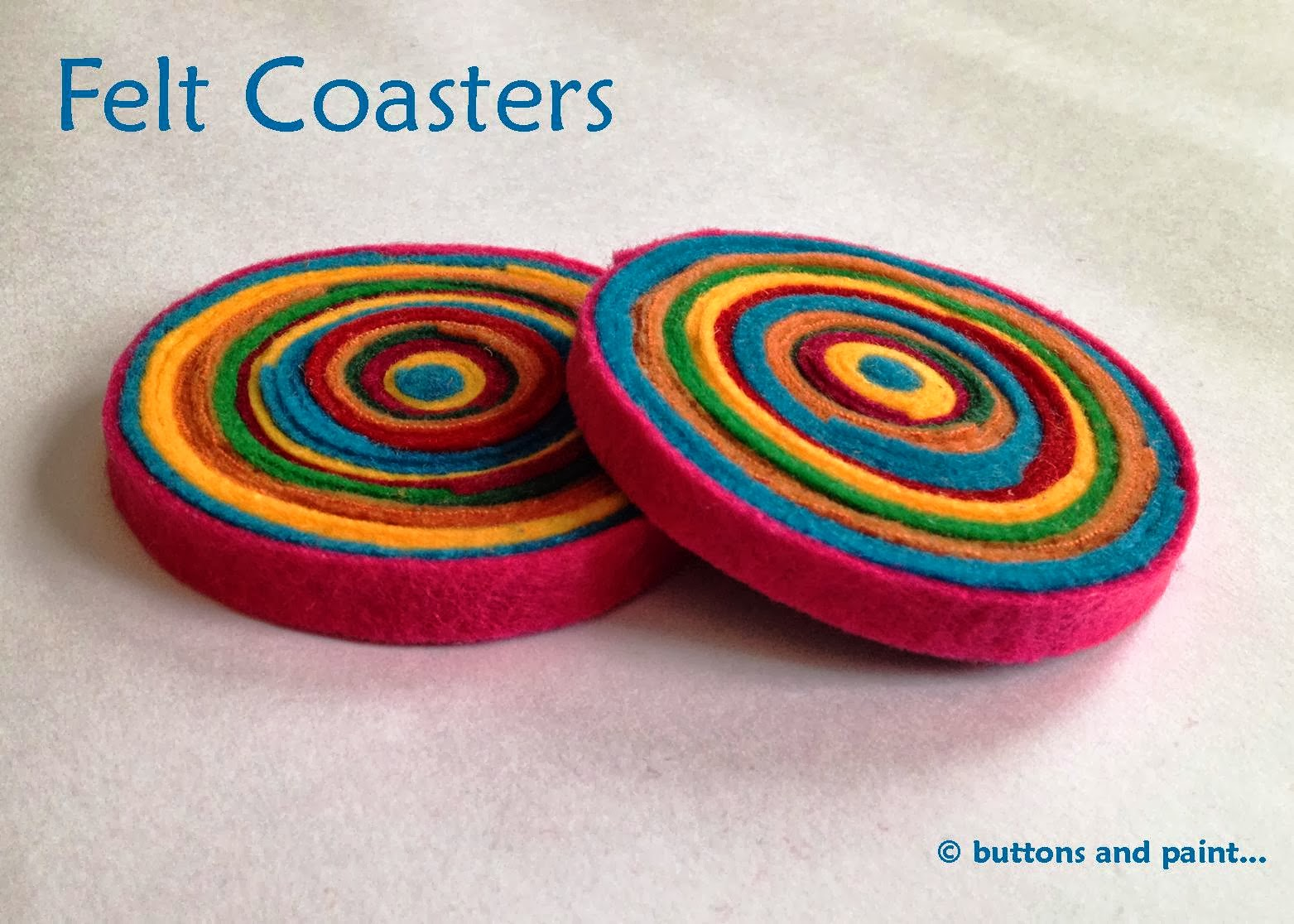 buttons and paint...: and some Felt Coasters