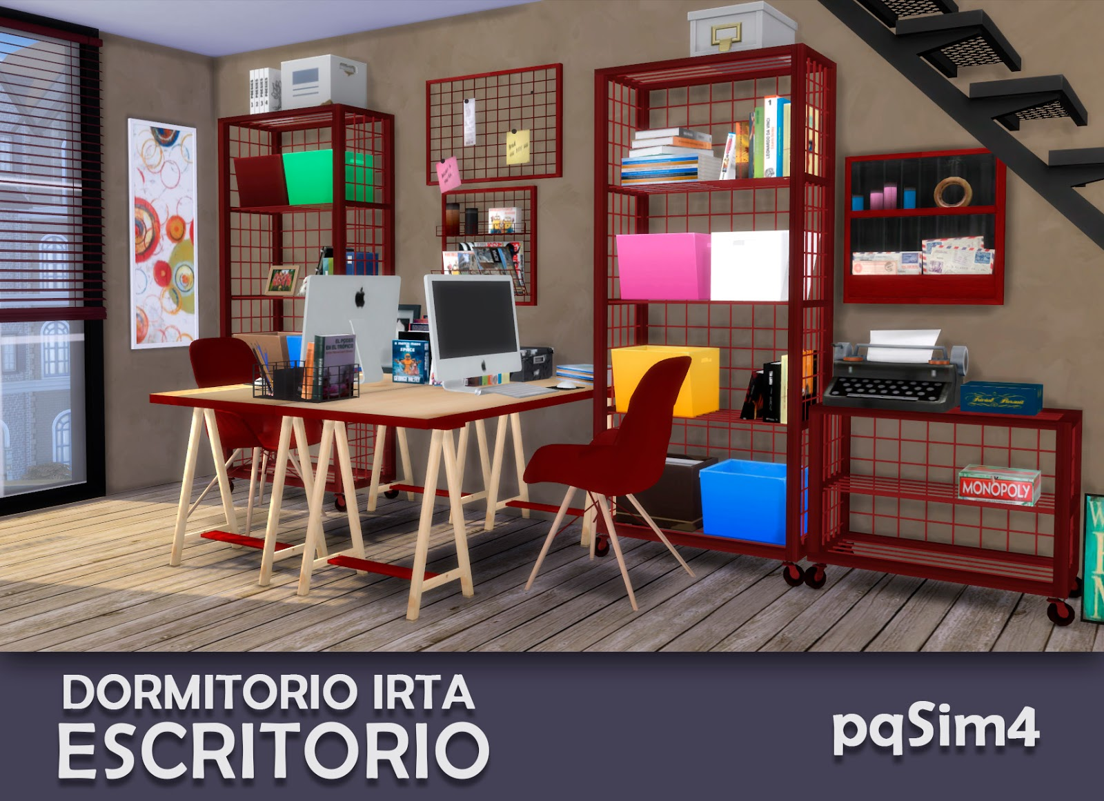 Dormitorio irta set 2 escritorio sims 4 custom content - Escritorio dormitorio ...