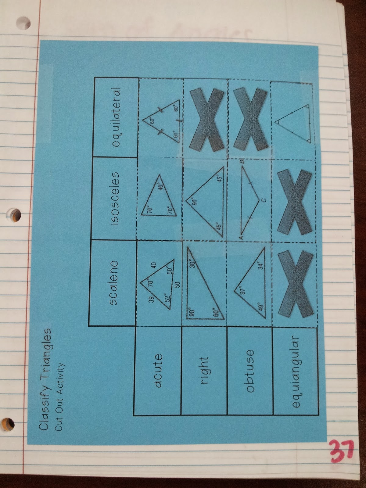 Math By Tori Classifying Triangles Vocab Foldable Amp Inb Activity