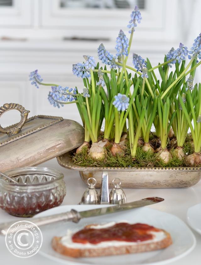 Frühlingsblumen in alten Gefäßen