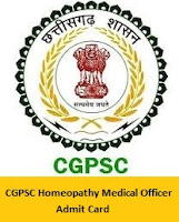 CGPSC Homeopathy Medical Officer Admit Card