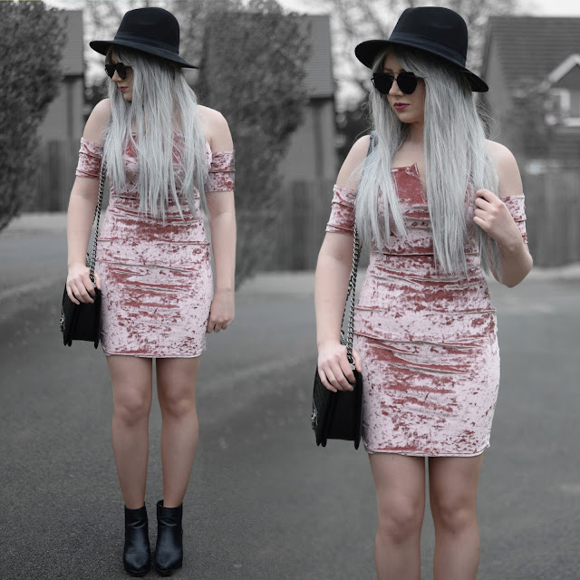 Sammi Jackson - Black Primark Fedora, Zaful Sunglasses, Missguided Pink Crushed Velvet Bardot Dress, Oasap Quilted Bag, Topshop Alexy Ankle Boots