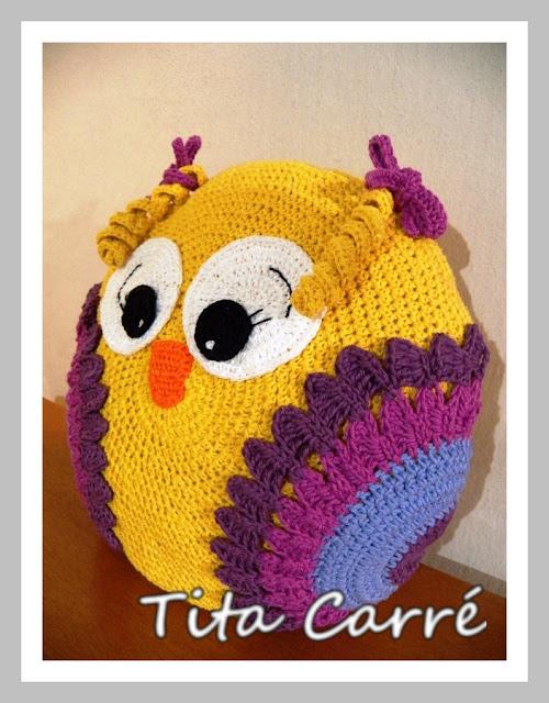 Almofada Passarinha em crochet