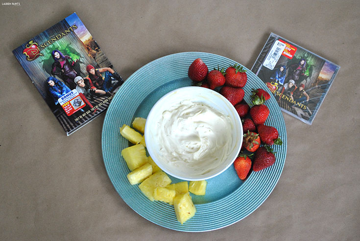 Descendants, the newest Disney movie, reminds us that sometimes it feels good to be bad. The story line is epic and this notoriously delicious fruit dip is the perfect compliment to this villainous movie!