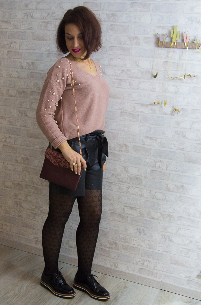 look - promod - short - simili - perles
