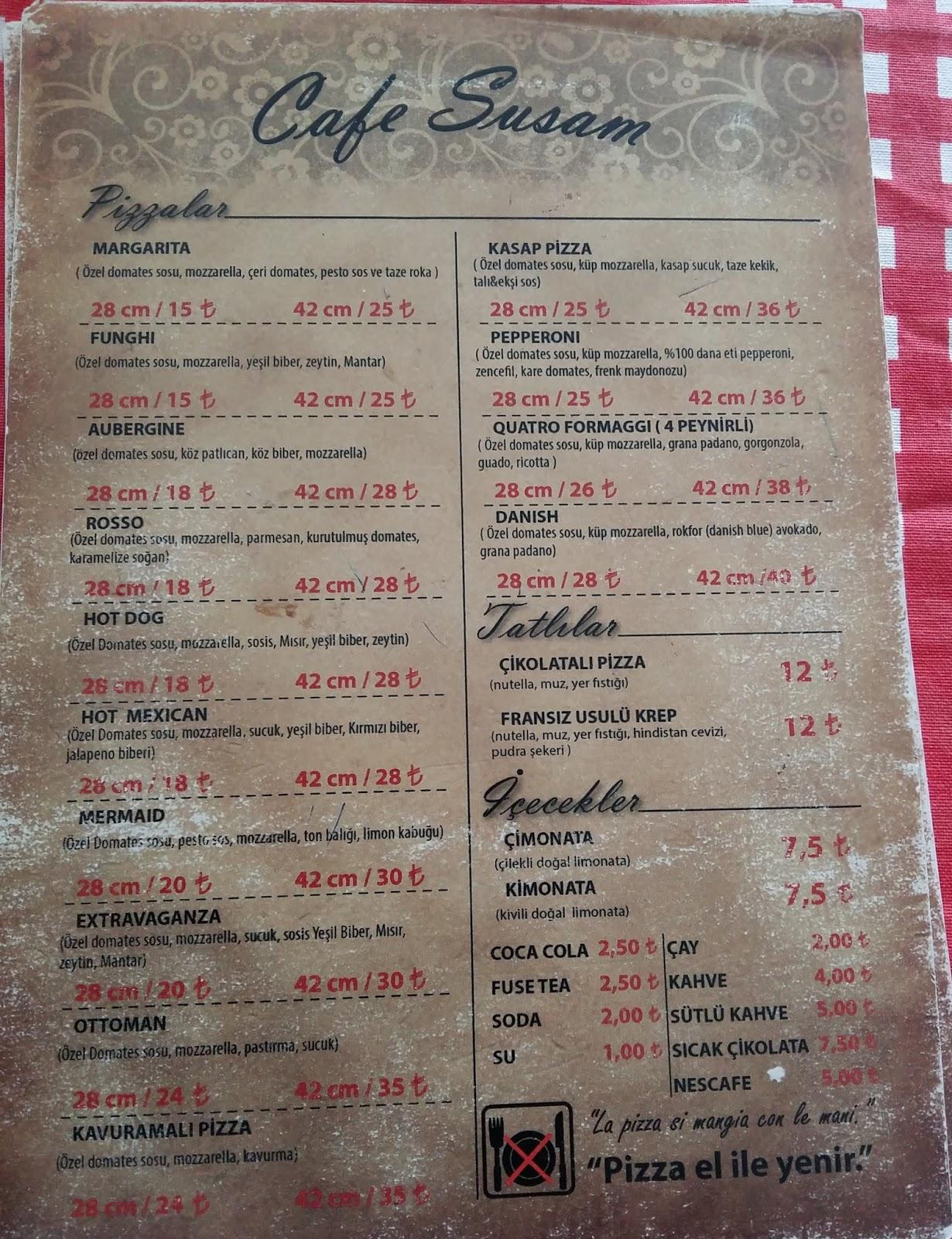 susam cafe pizza krep kayseri menü fiyatlar