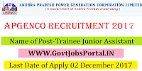 Andhra Pradesh Power Generation Corporation Recruitment 2017– 25 Trainee Junior Assistant