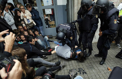 Spanish police in Catalonia
