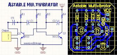 Make Astable Multivibrator Circuit