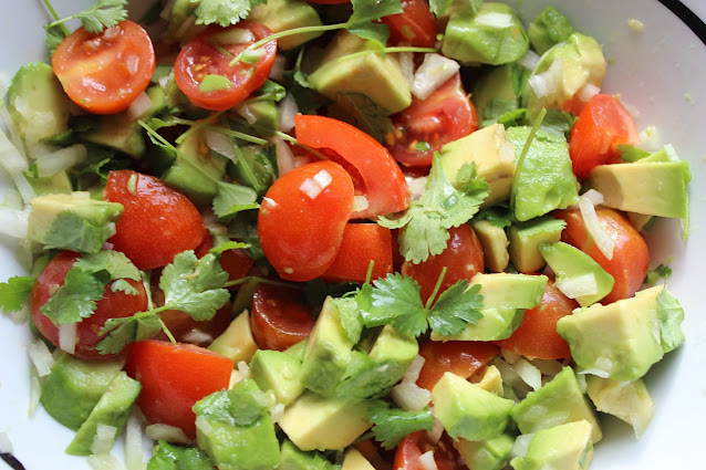 Avocado Tomato Salad with Cilantro-Lime Dressing