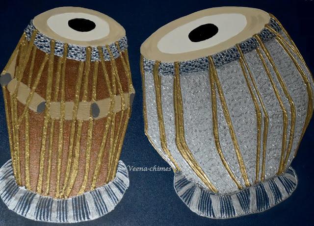 Tablas- Fabric paint Musical instrument art on canvas