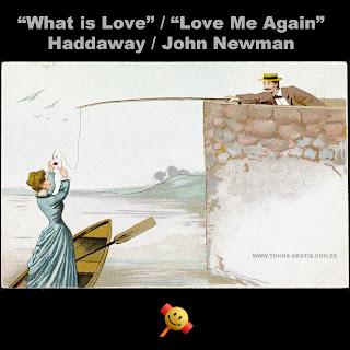 Imagen para el Tono What is Love Me Again - La imagen muestra un dibujo de un caballero con sombrero, traje y pajarita que sostiene una caña de pescar. En el extremo del sedal hay una carta lacrada que está recogiendo una dama con traje azul largo desde una pequeña barca de madera