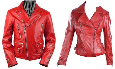 Gambar Jaket Kulit Couple Merah