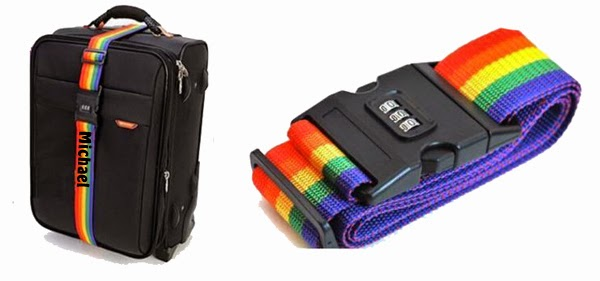 Rainbow color luggage strap with name embroidery