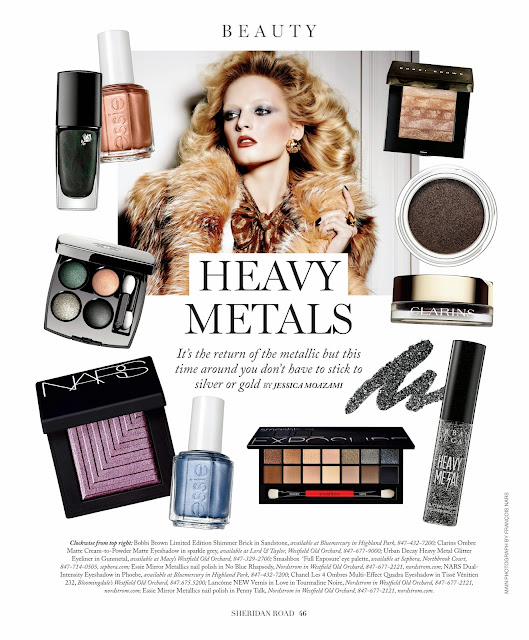 Heavy Metals metallic beauty trend for 2014 featured in Sheridan Road Magazine by Jessica Moazami