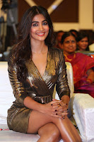 Pooja Hegde looks glamarous in deep neck sleevless short tight golden gown at Duvvada Jagannadham thank you meet function 139.JPG