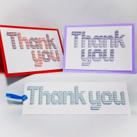 Thank you set horizontal stitch shadow effect embroidery on card for greetings card making.