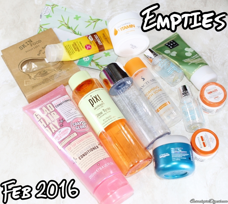 Here are the beauty products I emptied in February 2016 and my thoughts on each.