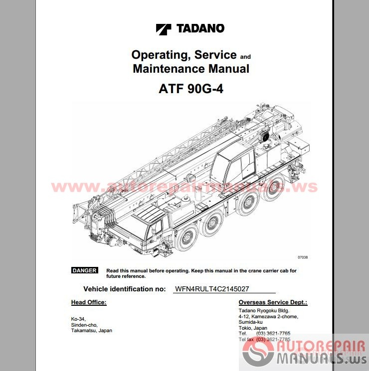 free auto repair manual   tadano cranes operation  service