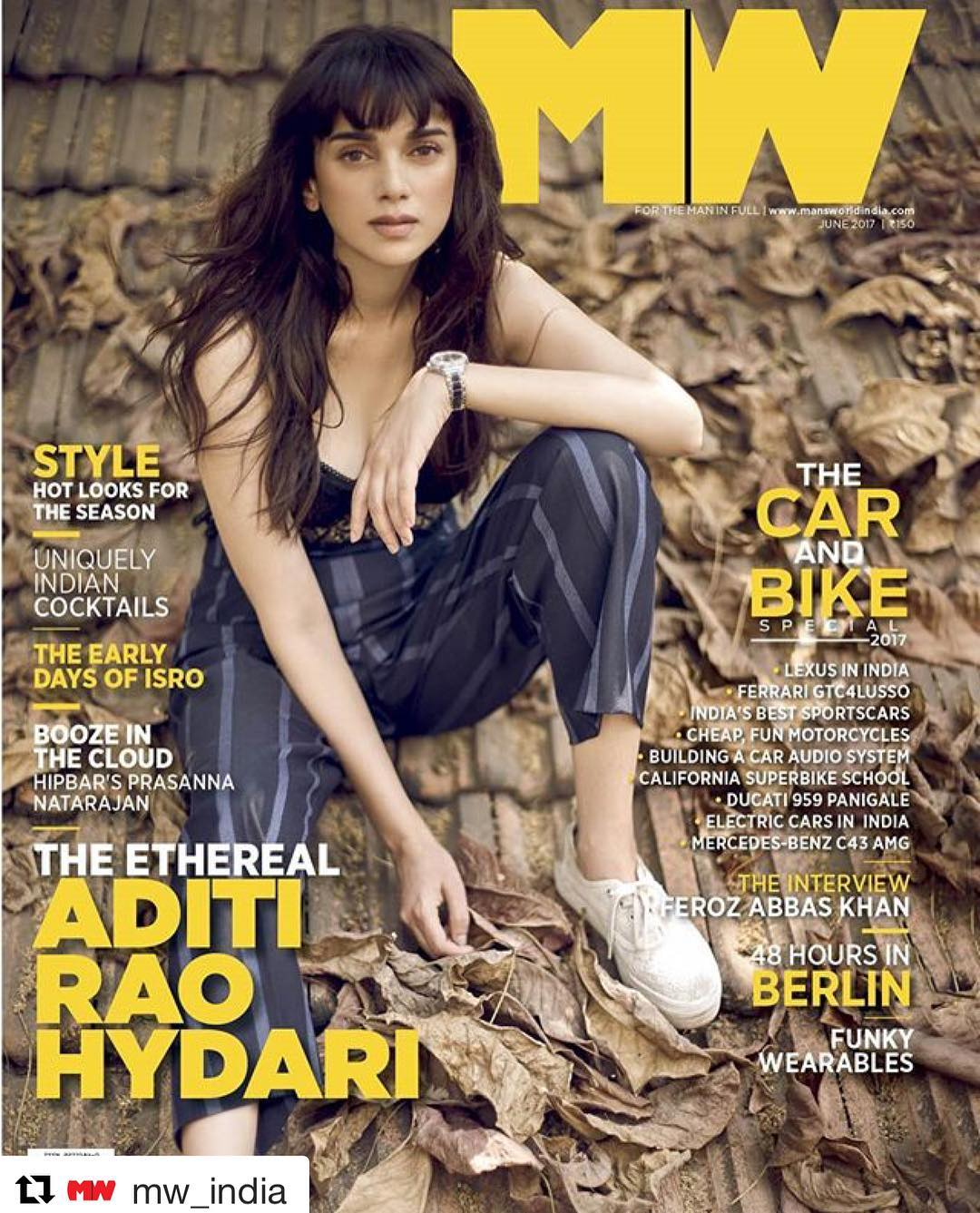 Aditi Rao Hydari On The Cover of Mans World Magazine June 2017