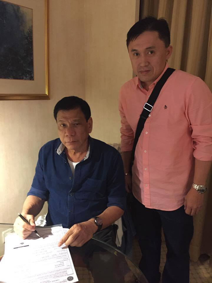 Duterte filed his certificate of candidacy (COC) on Friday.