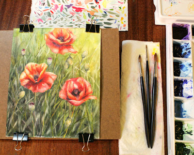 watercolor poppies Christy Sheeler Artist red orange shemustmakeart.blogspot.com ChristySheelerArtist