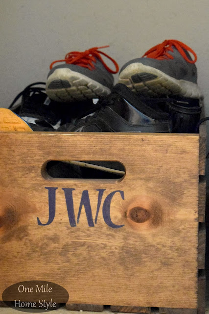 Stained wooden crate for easy shoe storage