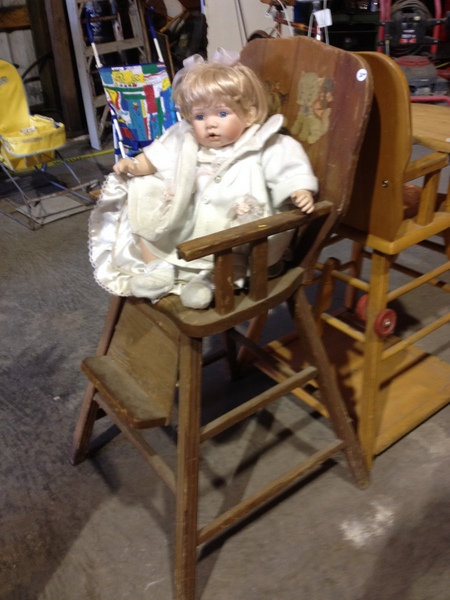 Vintage High Chair With Baby Doll