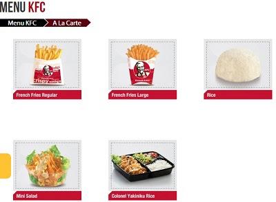 Harga Menu KFC A la Carte