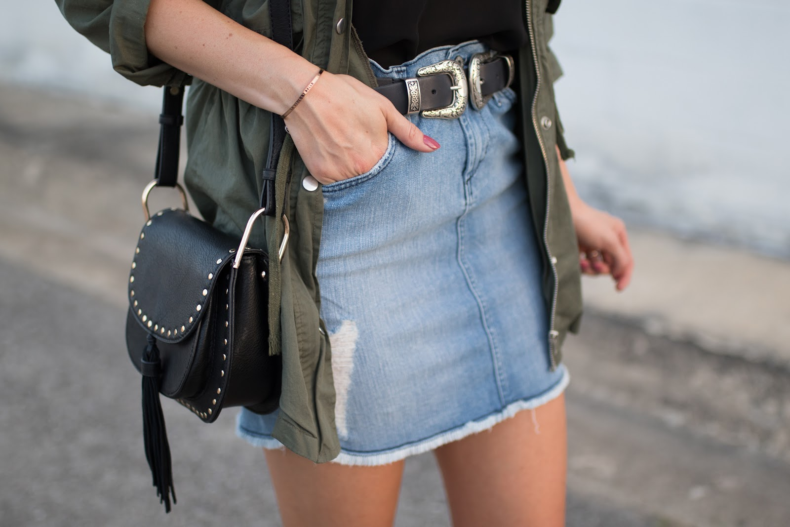 Raw hem denim mini skirt