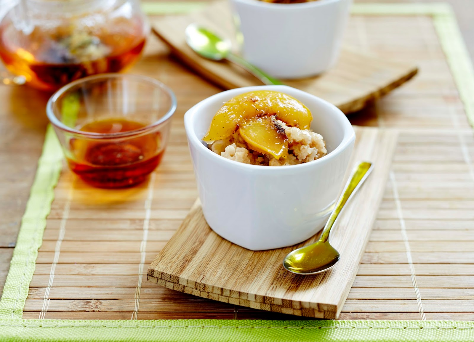Gluten Free Chai Tea and Nectarine Baked Rice Pudding.(