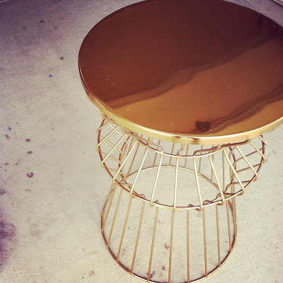 brass wire side table