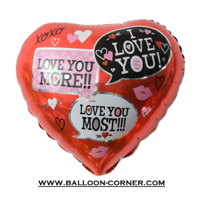 Balon Foil Hati Motif Love Dialogue