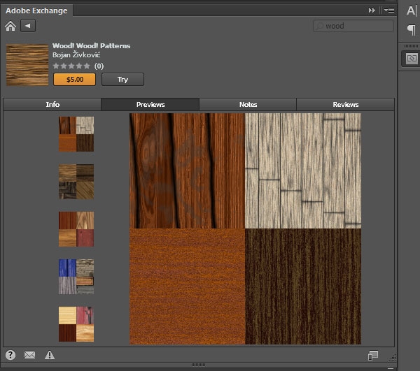 Wood! Wood! Patterns on Adobe Exchange