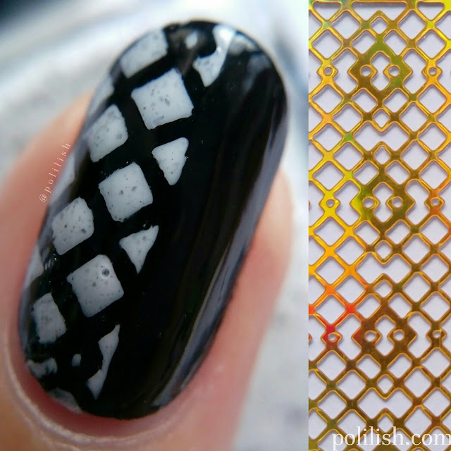 Black and white geometric nails using stencils by Born Pretty Store