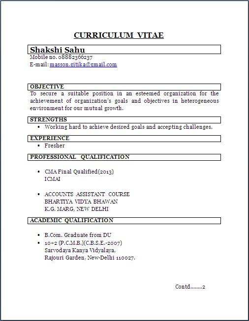 Resume Sample Cma Fresher Resume Formats