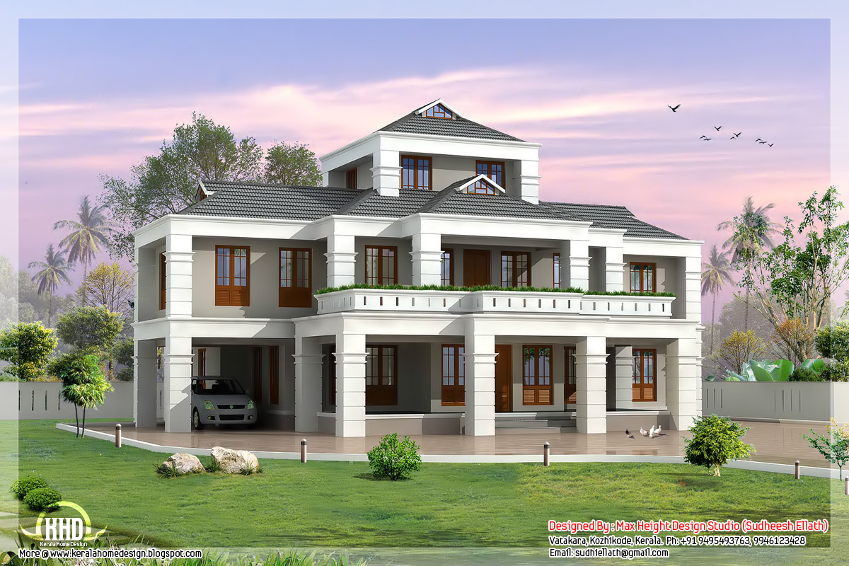 4 bedroom indian villa elevation kerala home design and for Villa designs and floor plans