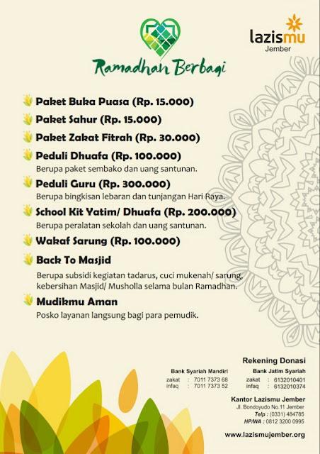 Ramadhan berbagi bersama Lazismu Jember