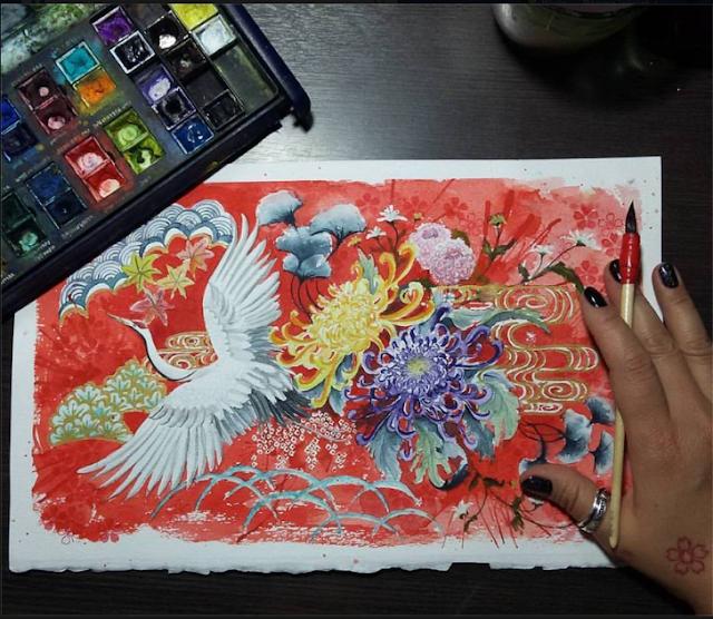 Ilustração em aquarela com uma garça branca, muitas flores e um fundo vermelho. A ilustração que signifique longevidade, felicidade e paz.
