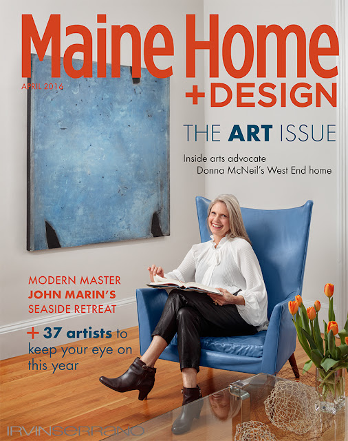 Donna Mcniel sitting in her living room for the cover of Maine Home and Design Magazine.